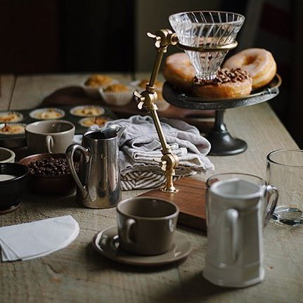 Apple olive oil cake, donuts, muffins. My morning looks nothing like this  but my @thecoffeeregistry pour over is still the prettiest thing in my kitchen. Loooove the images from this shoot two years ago! (photo by @annaclairgenuine)