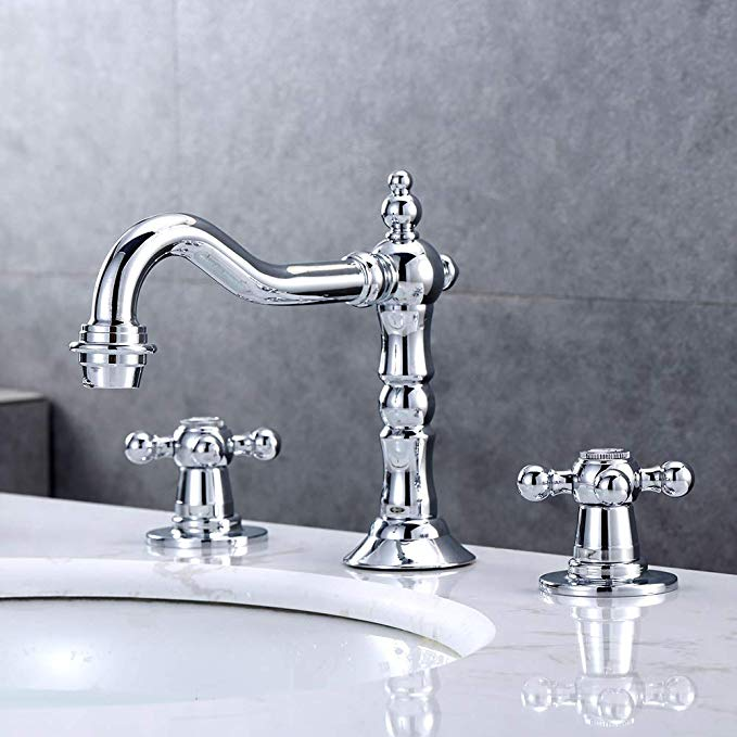 Kaima Widespread Bathroom Faucet Three Holes Two Handle Bathroom