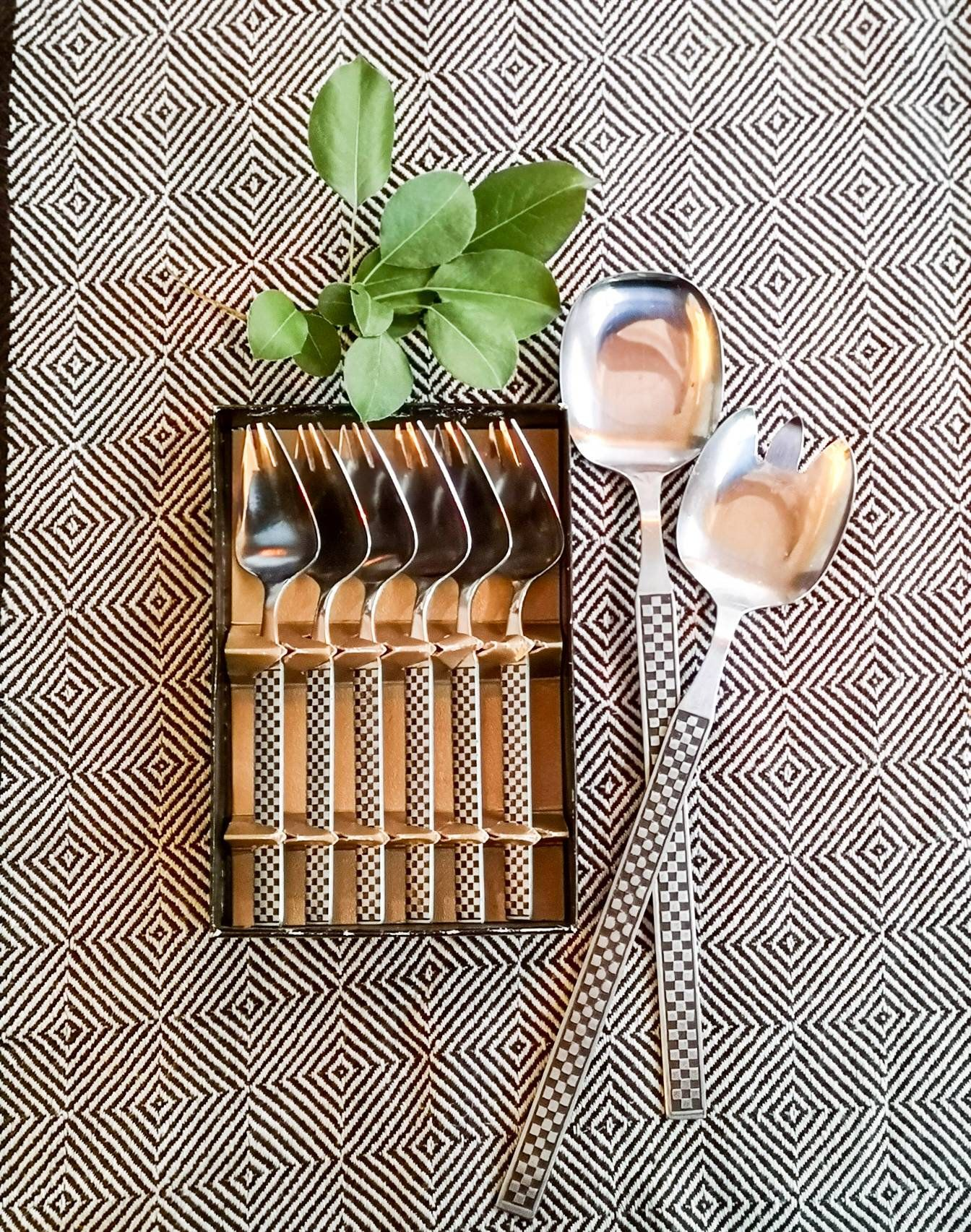 Jual Murah Vintage Salad Servers And Serving Forks Mid Century Style Sepatu Bayi Laki Tamagoo David Series Baby Shoes Prewalker  9 12 Bulan Abu Muda Horn Server 1 By Oddandreloved