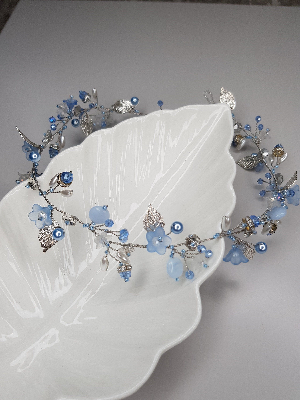 Silver leaves Blue crystal HairPiece, Bridal Head Piece, Blue Silver Bridal hair piece, Blue Bridal headpiece, Wedding hair piec