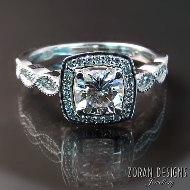 Beautiful enagement rings: Cushion cut with halo and scalloped milgrain edge shank