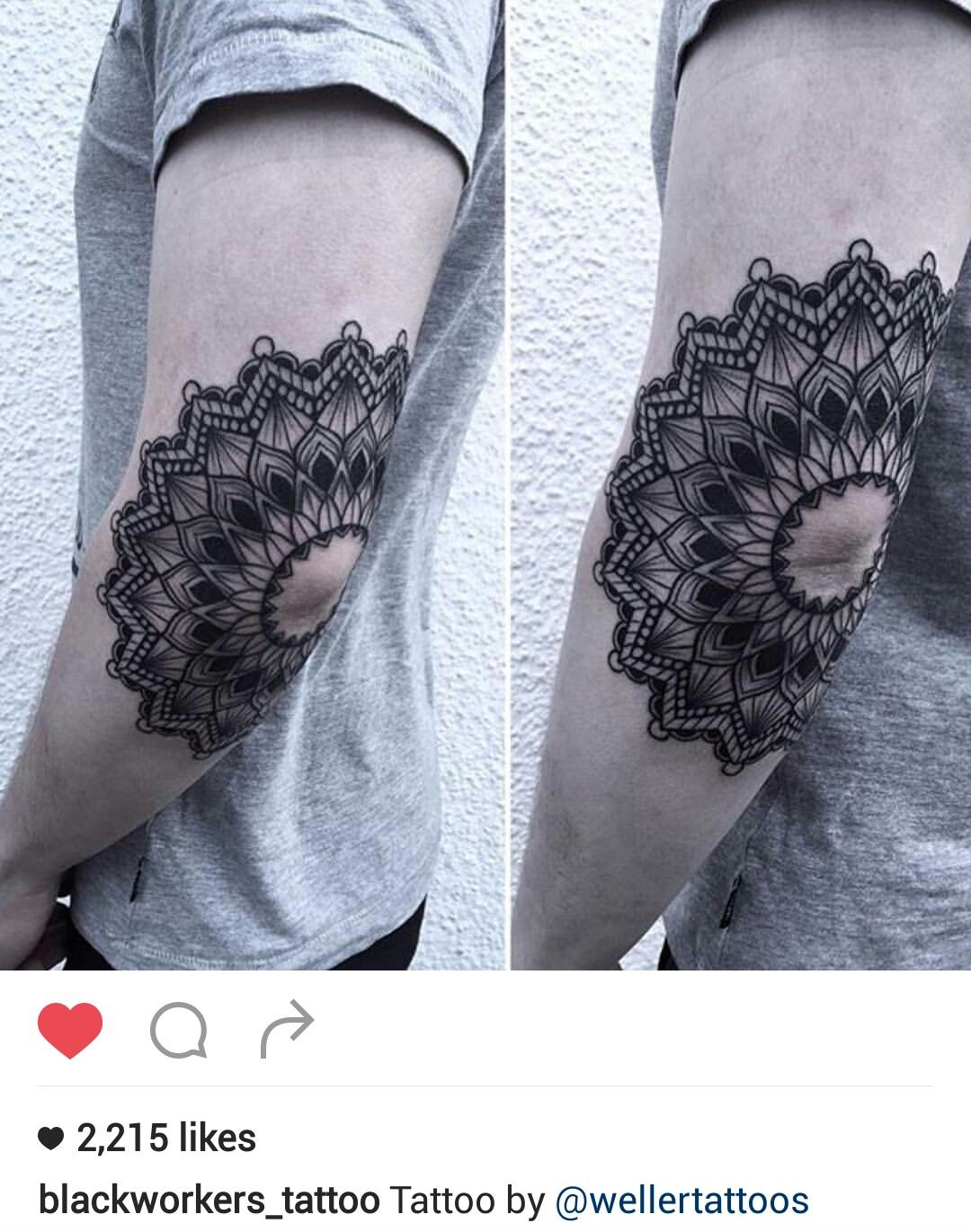 Black and gray elbow mandala tattoo by @wellertattoos                                                                                                                                                                                 More