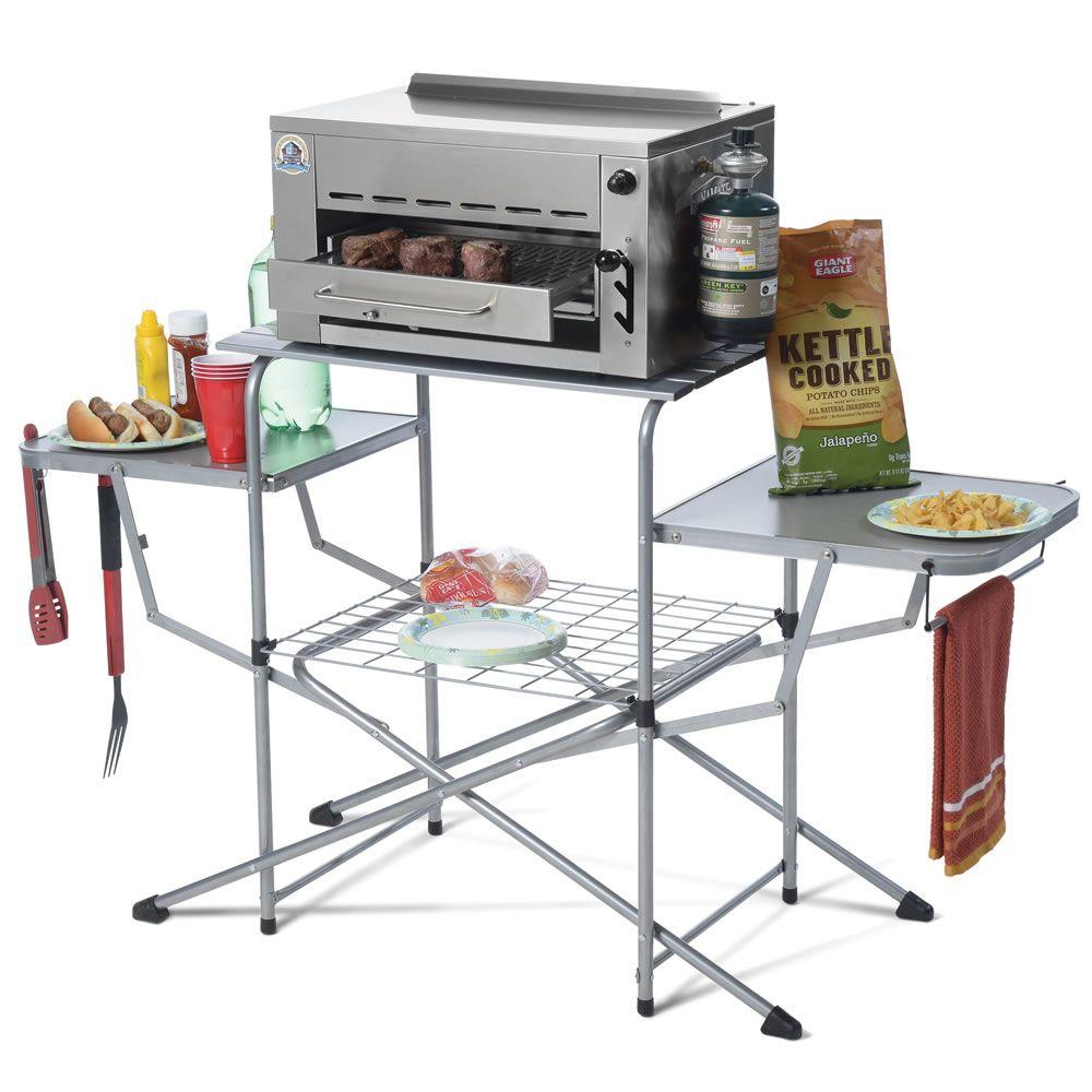 Broiler Stand Hammacher Schlemmer Outdoor Kitchen Grill Bbq Accessories Cooking Essentials
