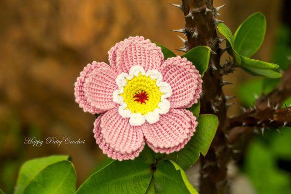 Crochet Flower Pattern Crochet Flower Applique Hat Applique
