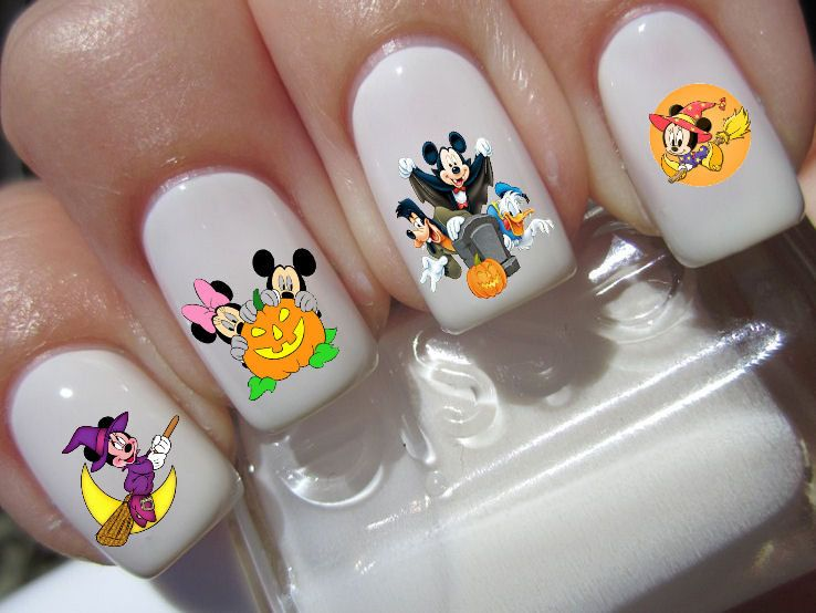 Mickey & Minnie Mouse halloween scary disney nail art waterslide ...
