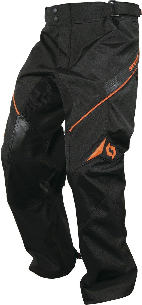Scott Adventure textile pants men - Red - 40. The Scott Adventure Pant is a highly abrasion-resistant trail-riding pant. It features spandex panels for airflow and mobility, a mesh liner for comfort, and Cordura® fabric for durability and dependability. Material: 600D Nylon 1000D lower leg full mesh liner Leather inner knees Ballistic nylon outer knees Features: Big cargo pockets Button fly Leather inner knee for durability Stretch panel behind knee Natural lower leg cuff Over the boots design
