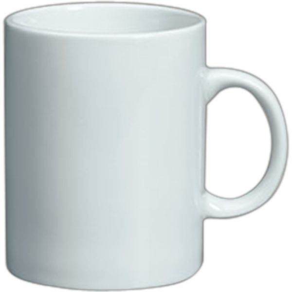 White Vitrified Porcelain Plain Straight Sided Mug 11 Oz 3 4 Tall Dishwasher And Microwave Safe With Standard Ink Imprint This Is Not A Toy