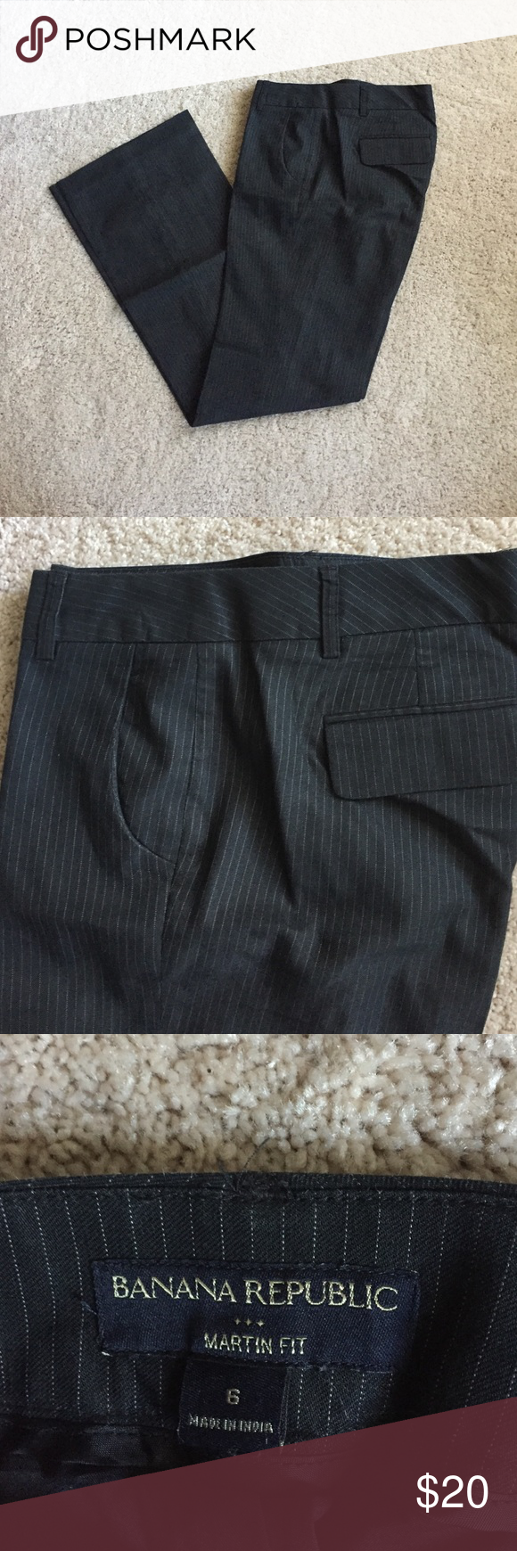 Black Pinstriped Dress Pant Black pinstriped dress pant by Banana Republic. Excellent used condition. Fully lined. Gorgeous fit. Banana Republic Pants Trousers