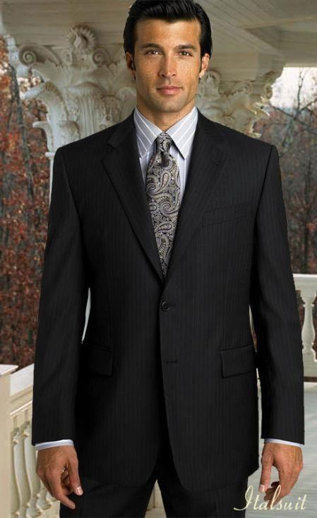 SKU#QL5489 2pc 2 Btn Pinstripe Black Suit Classic Relax Fit ...
