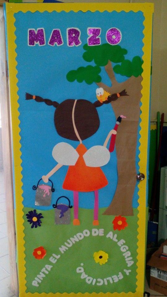 Puerta decorada de primavera sharytin decoraci n de for Decoracion de puertas de salones