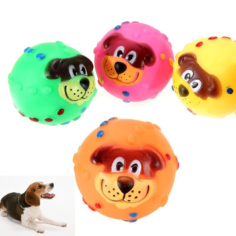 Random Color Soft Rubber Squeaky Dog Toy Dog Toy Ball Squeaky