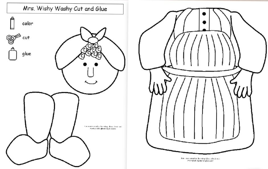 Mrs. Wishy Washy cut and glue practice from