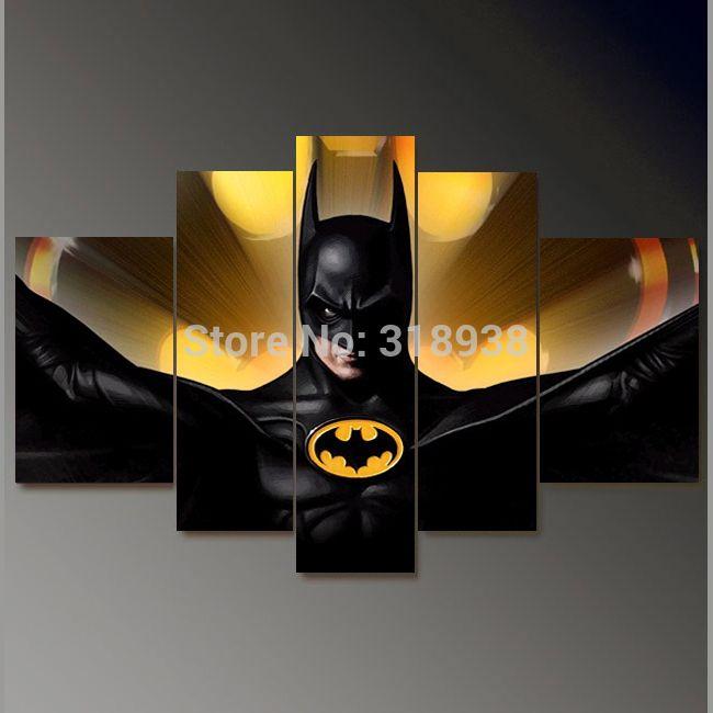 Framed Hand Painted 5 Panels Batman Movie Group Oil