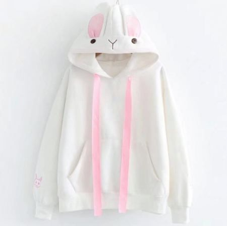 Cosplay Rabbit Hoodie With Ears Bunny Embroidered Sweatshirt For