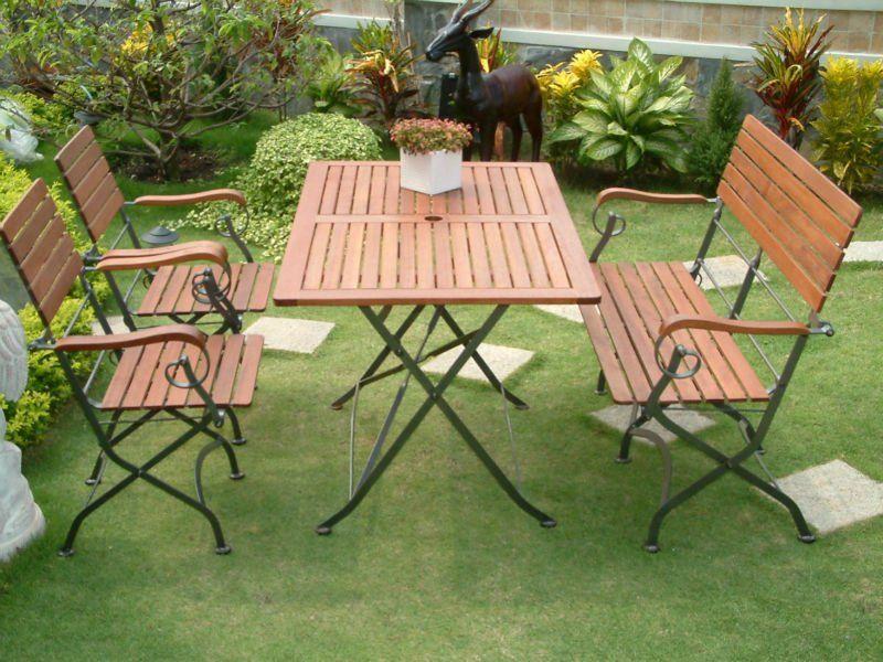 Rey de madera muebles de jardín conjunto con marco de hierro ...
