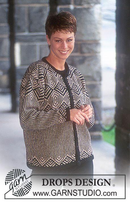 Gebreid DROPS Vest met jacquard van Silke-Tweed. Maat S - L. ~ DROPS Design