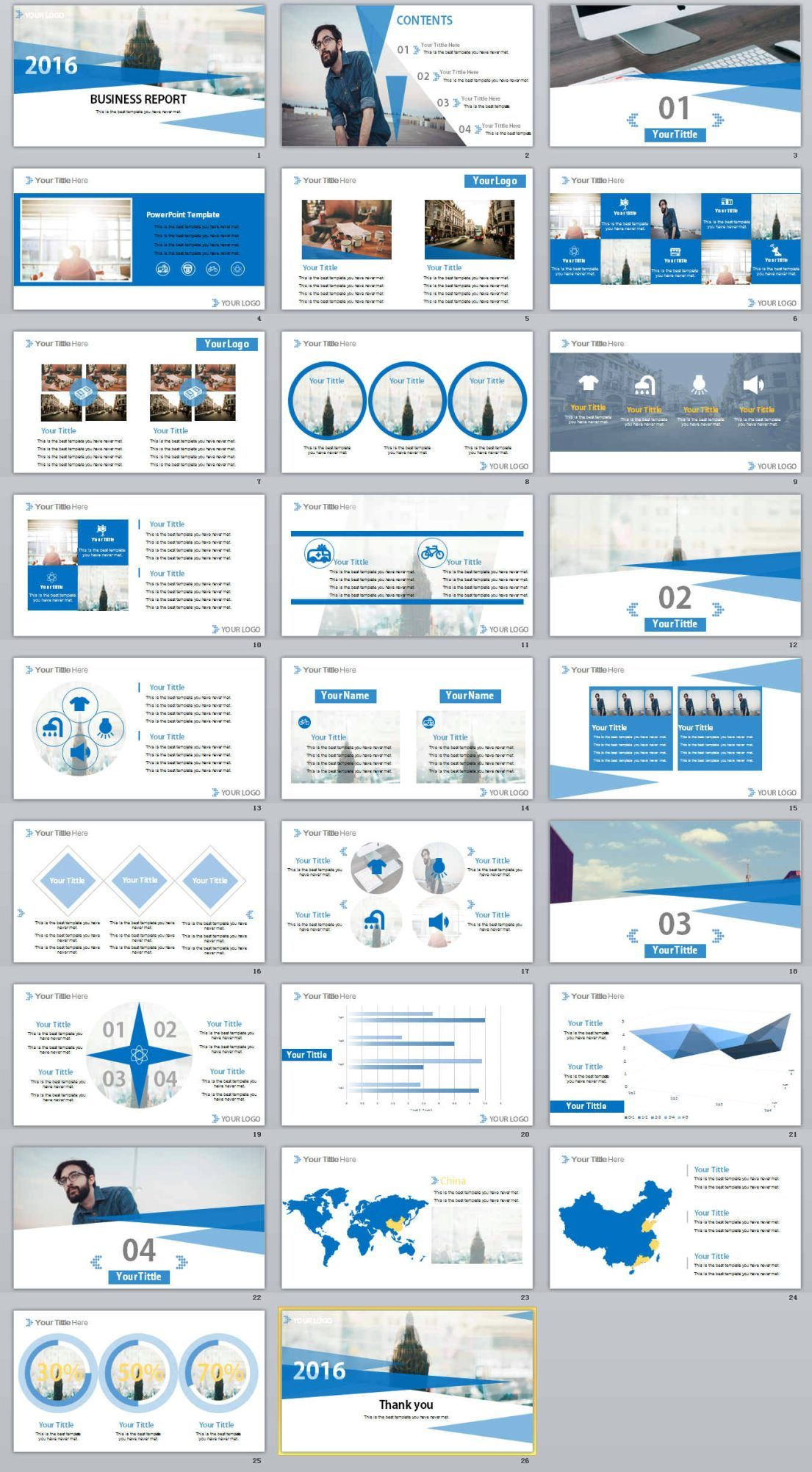 26 blue business report powerpoint templates テンプレート