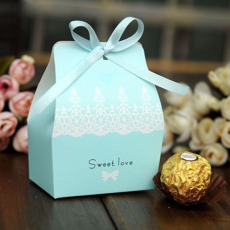 Set Of 50 Mini Satin Ribbon Wedding Favor Box Cupcake Box Gift Box Light Blue Candy Wedding Favors Love Is Sweet Wedding Favor Boxes