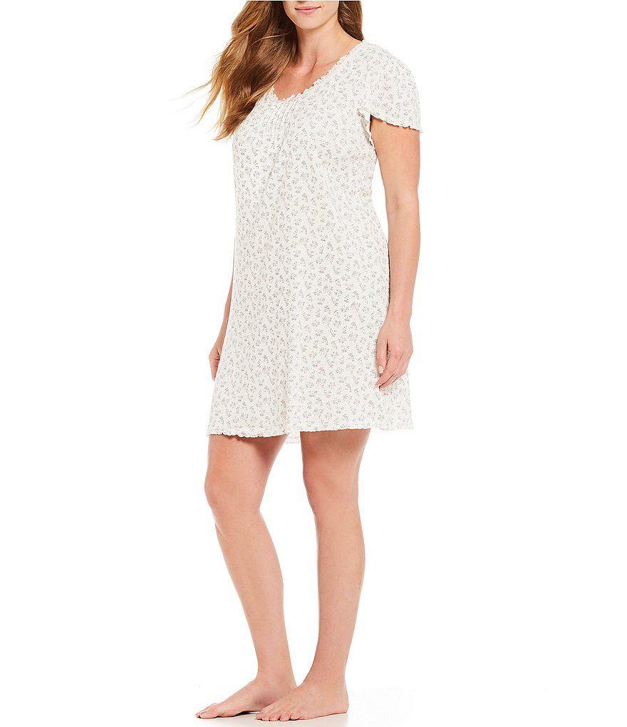 7eeb98e906 Miss Elaine Plus Floral-Print Brush Rib Knit Short Nightgown  Print ...
