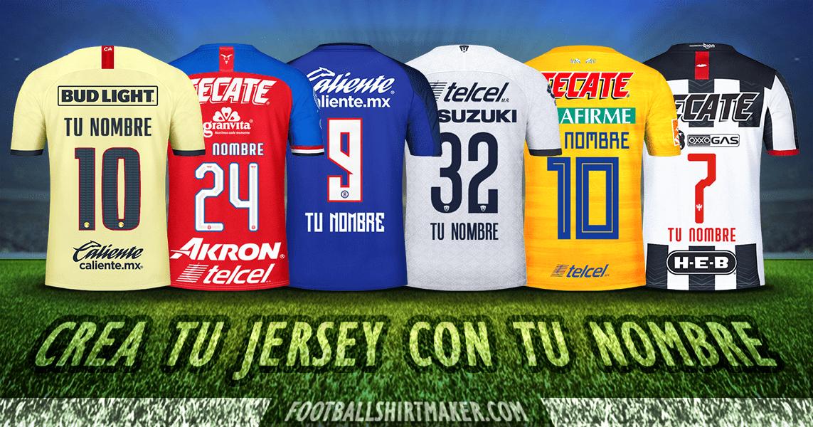 Personaliza El Jersey De Tu Equipo De Fútbol Con Tu Nombre Y Número Mas De 130 Equipos En 2020 Camisetas De Fútbol Personalizadas Camisetas De Fútbol Equipo De Fútbol