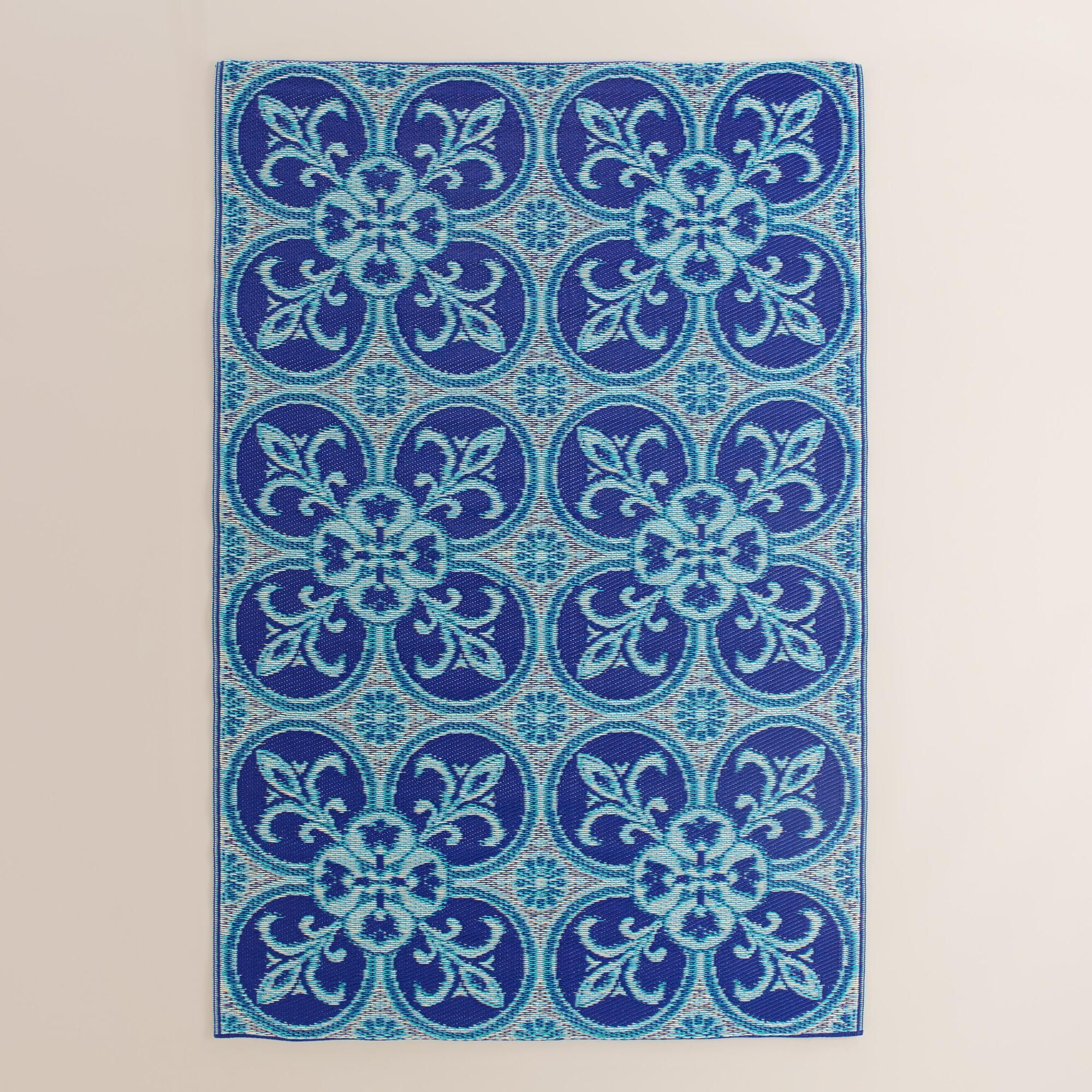4x6 Blue and White Tile Reversible Rio Floor Mat | Soothing colors ...