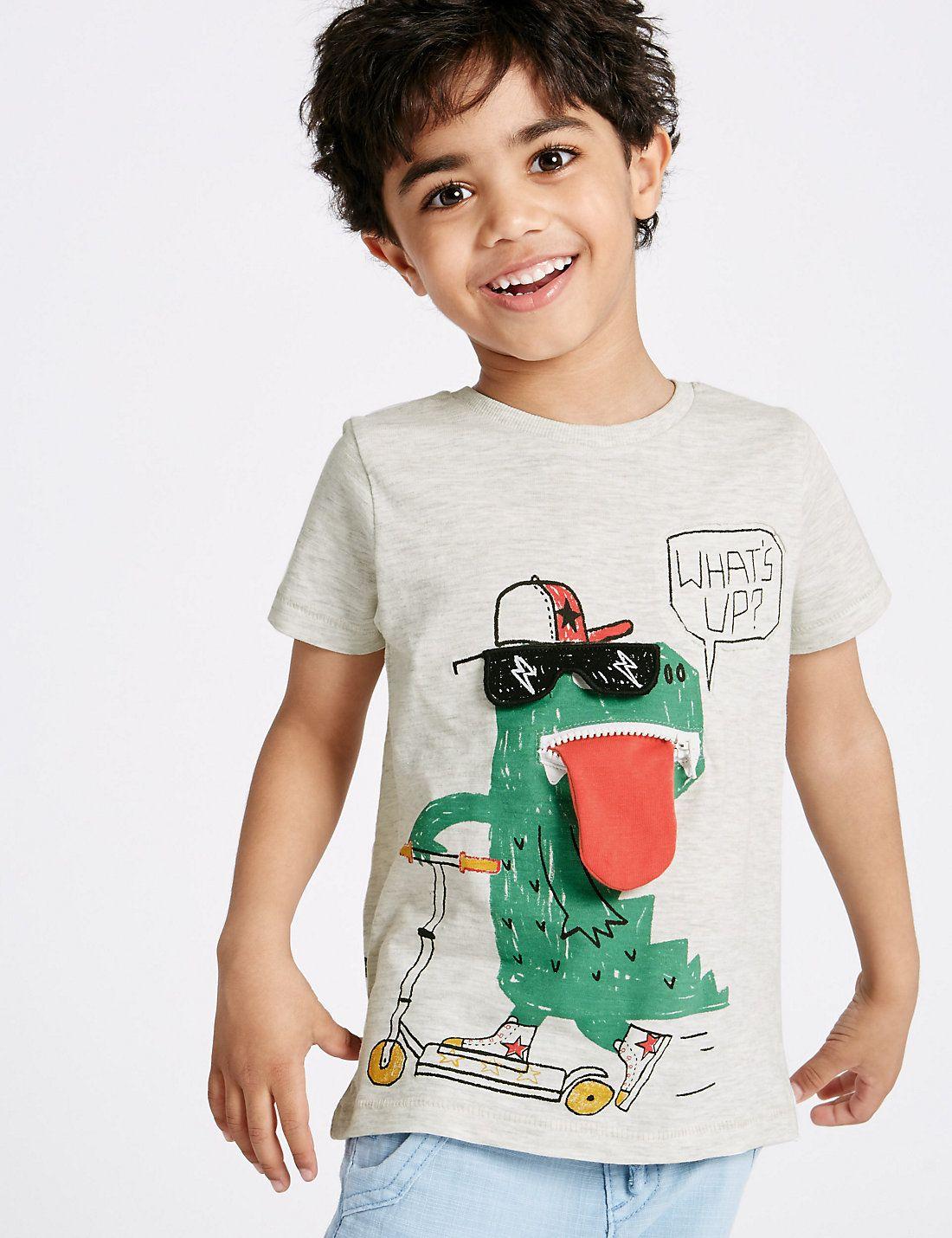 Baby Boys Long Sleeves T-shirt Cotton Shark Cartoon Design Kids Cute Sweatshirt