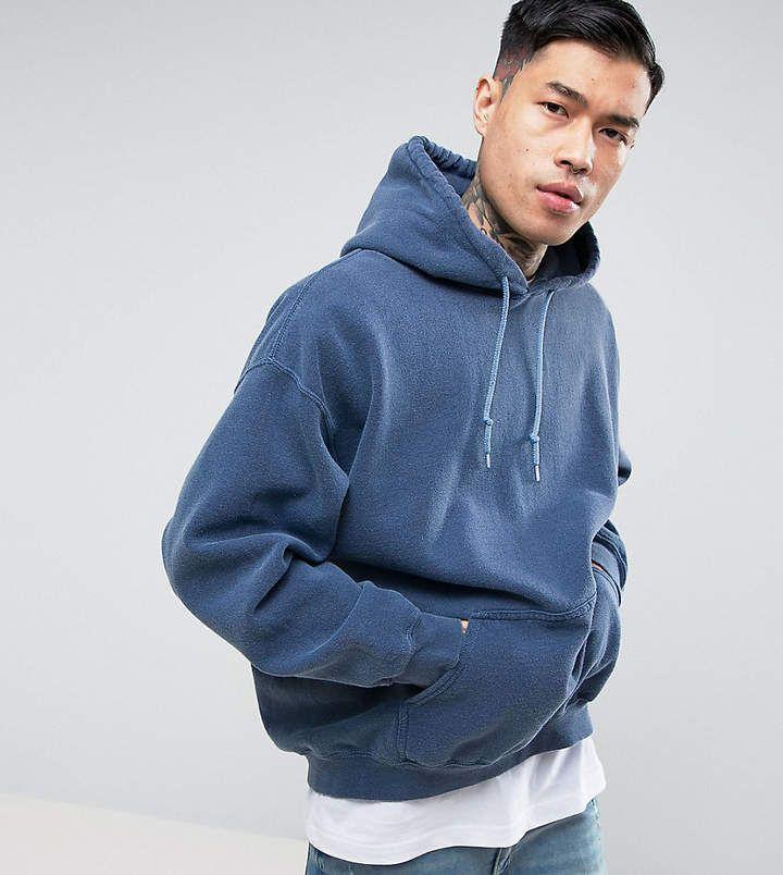 Reclaimed Vintage Inspired Oversized Hoodie In Navy Overdye Vintage Hoodies Mens Pants Fashion Mens Sweatshirts Hoodie