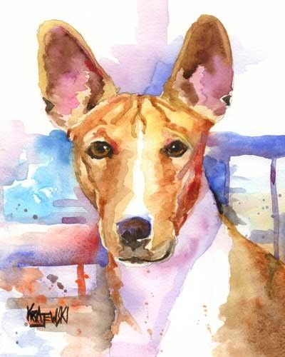 Basenji Dog Art Original Watercolor Painting by by