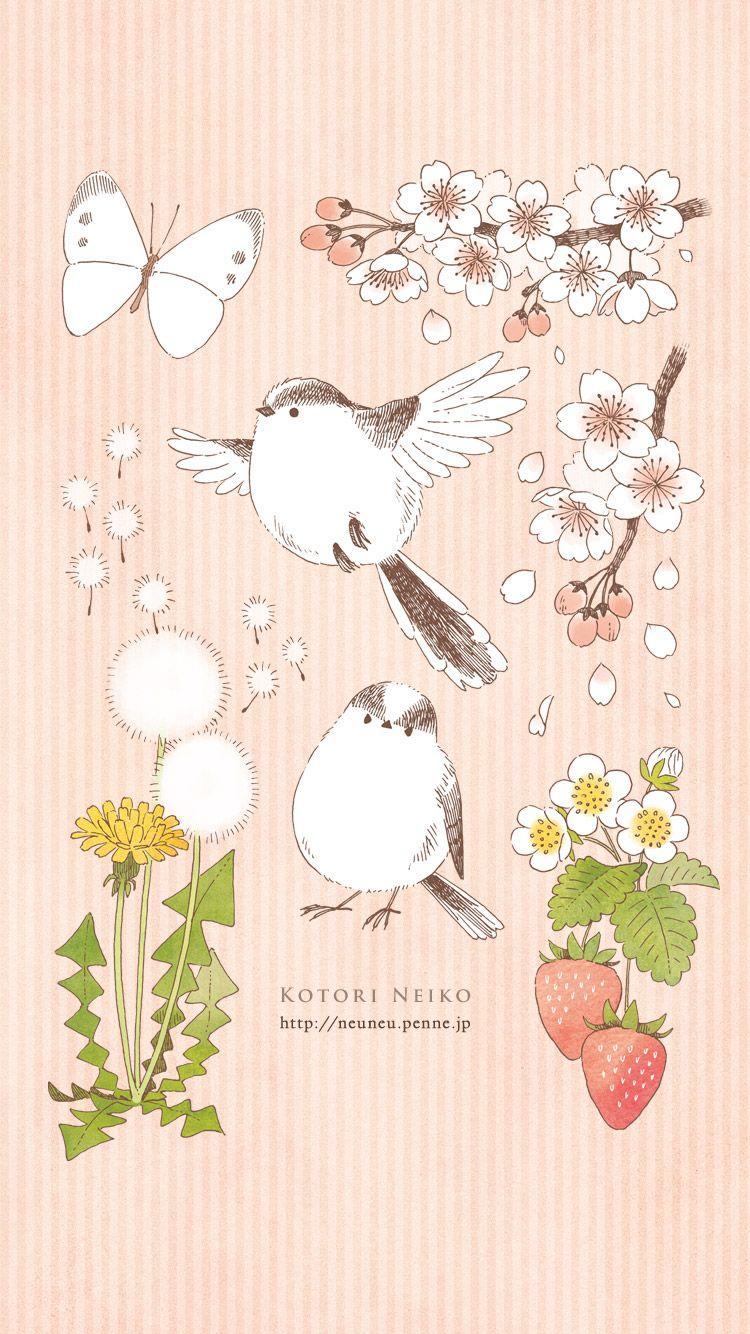 春の白いモチーフ Iphone用 By ことり寧子 桜イラスト 鳥
