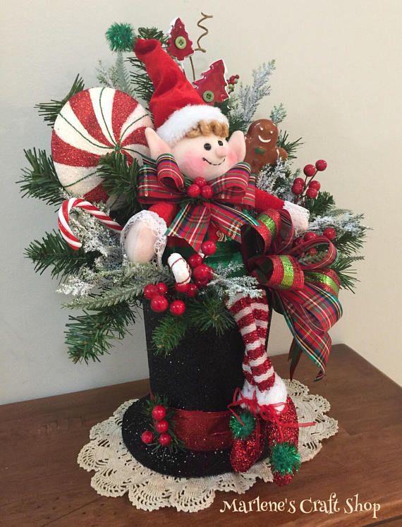 Christmas Elf Centerpiece Elf Decoration Snowman Hat Christmas Floral Arrangements Christmas Floral Christmas Flowers