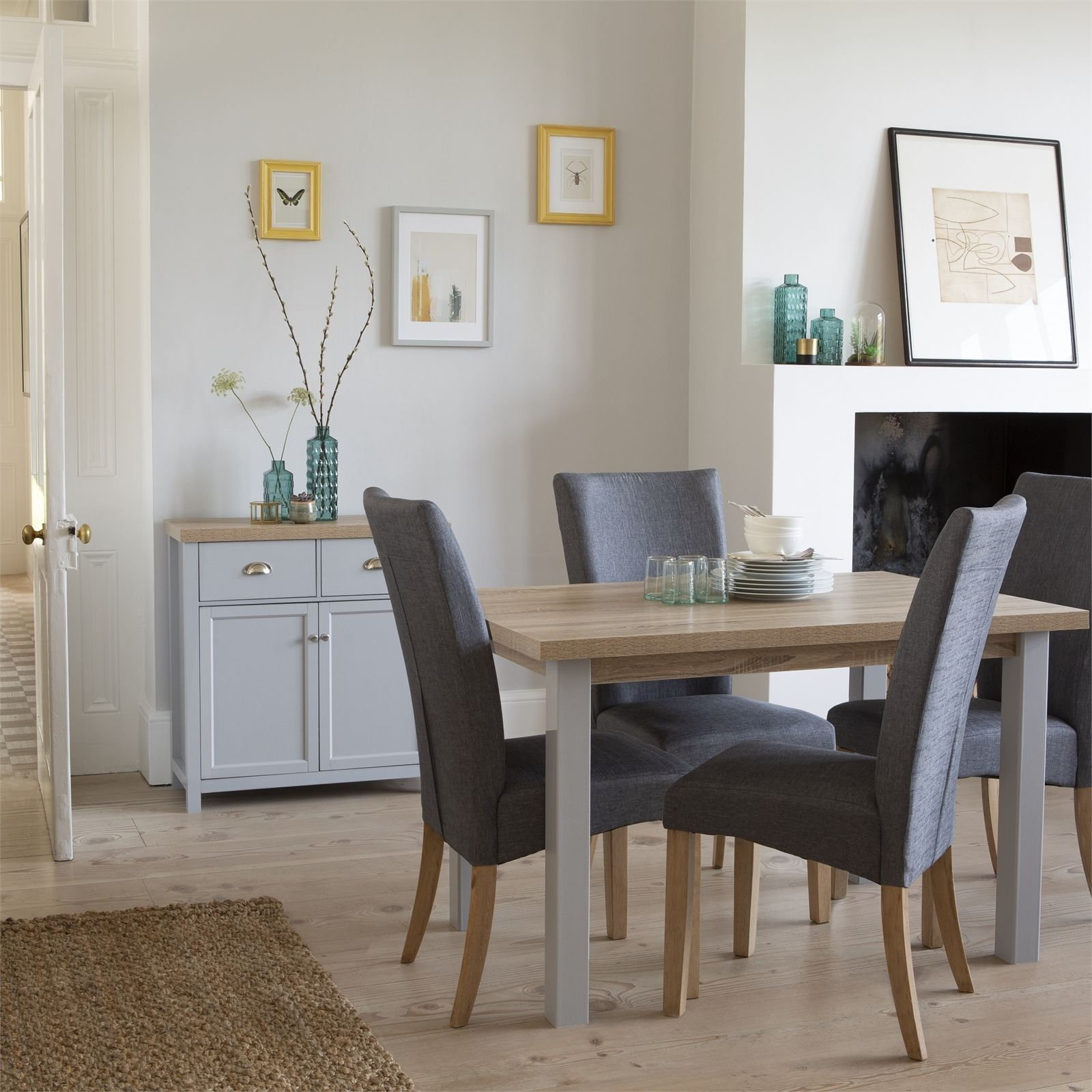 Harlow Dining Table And 6 Chairs Oak And Grey At Homebase