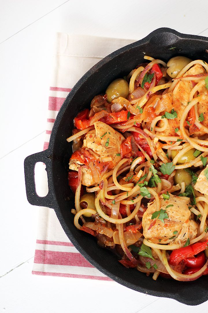 One Pot Basque Chicken with Red Potato Noodles