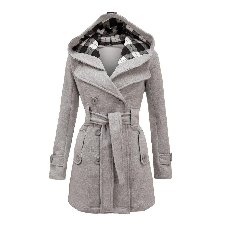 2a60aad9f8910 Plus Size Double Breasted Long with Belt Hooded Coat. Manteaux Pour FemmesManteau  TrenchManteaux À CapucheManteaux ...