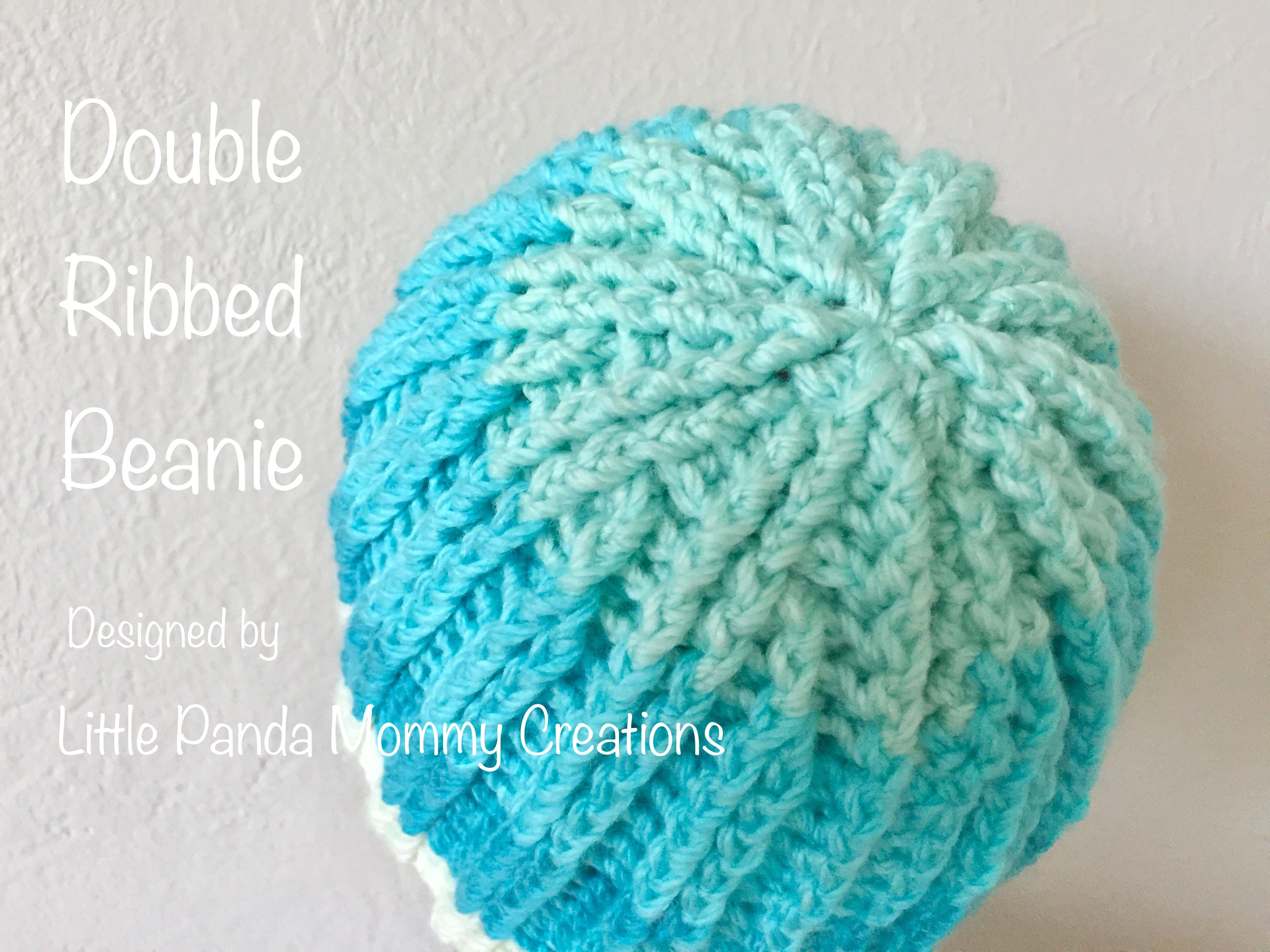 Double ribbed beanie pattern by little panda mommy beanie double ribbed beanie pattern made with caron cake in faerie cake a crochet hat bankloansurffo Images