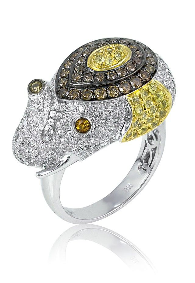 Jardin Diamond and Sapphire Elephant Ring 222 TCW Watches rings