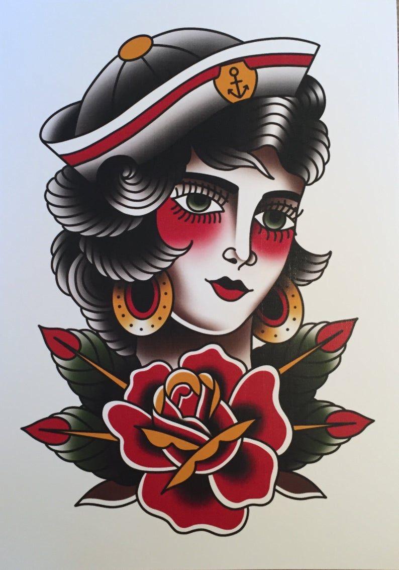 Traditional Sailor Girl Tattoo Print Traditional Sailor Tattoos Old School Tattoo Designs Traditional Tattoo Art