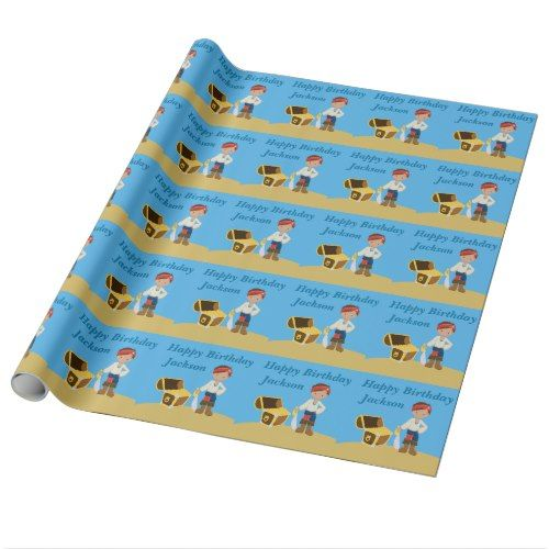 Cool Custom Pirate Kids Wrapping Paper