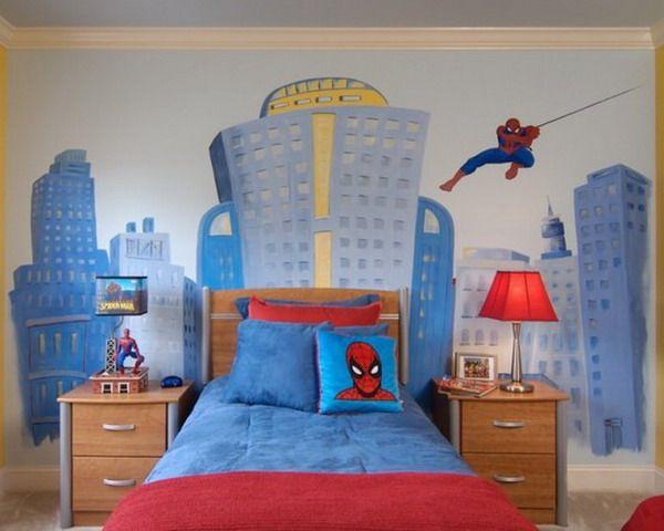 Attractive Spiderman Kids Bedroom Murals Painted Ideas ...