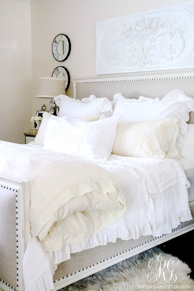 Master bedroom with 2 beds  Styled for Spring Home Tour Part   Elegant Ruffle and Lace Spring