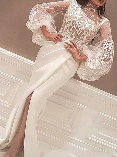 e5e16874eaa Sheath High Neck Prom Dresses