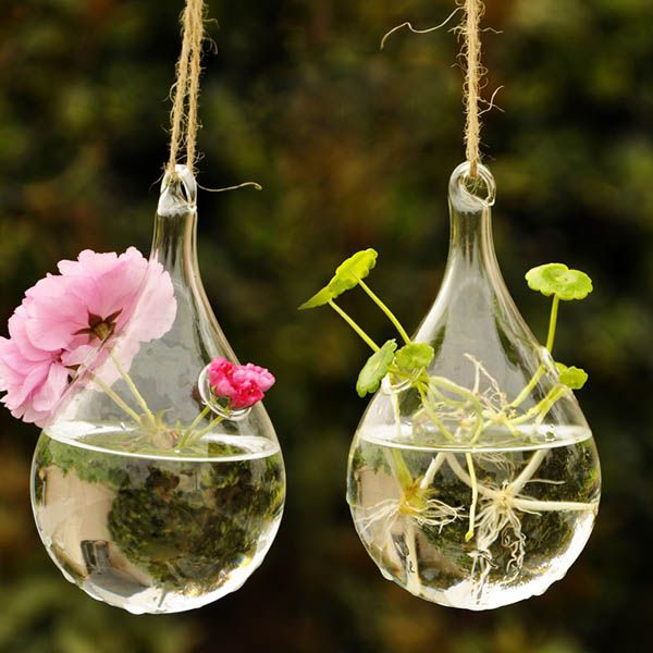 Water Drop Shape Hanging Glass Flower Vase Home Party Decor Glass
