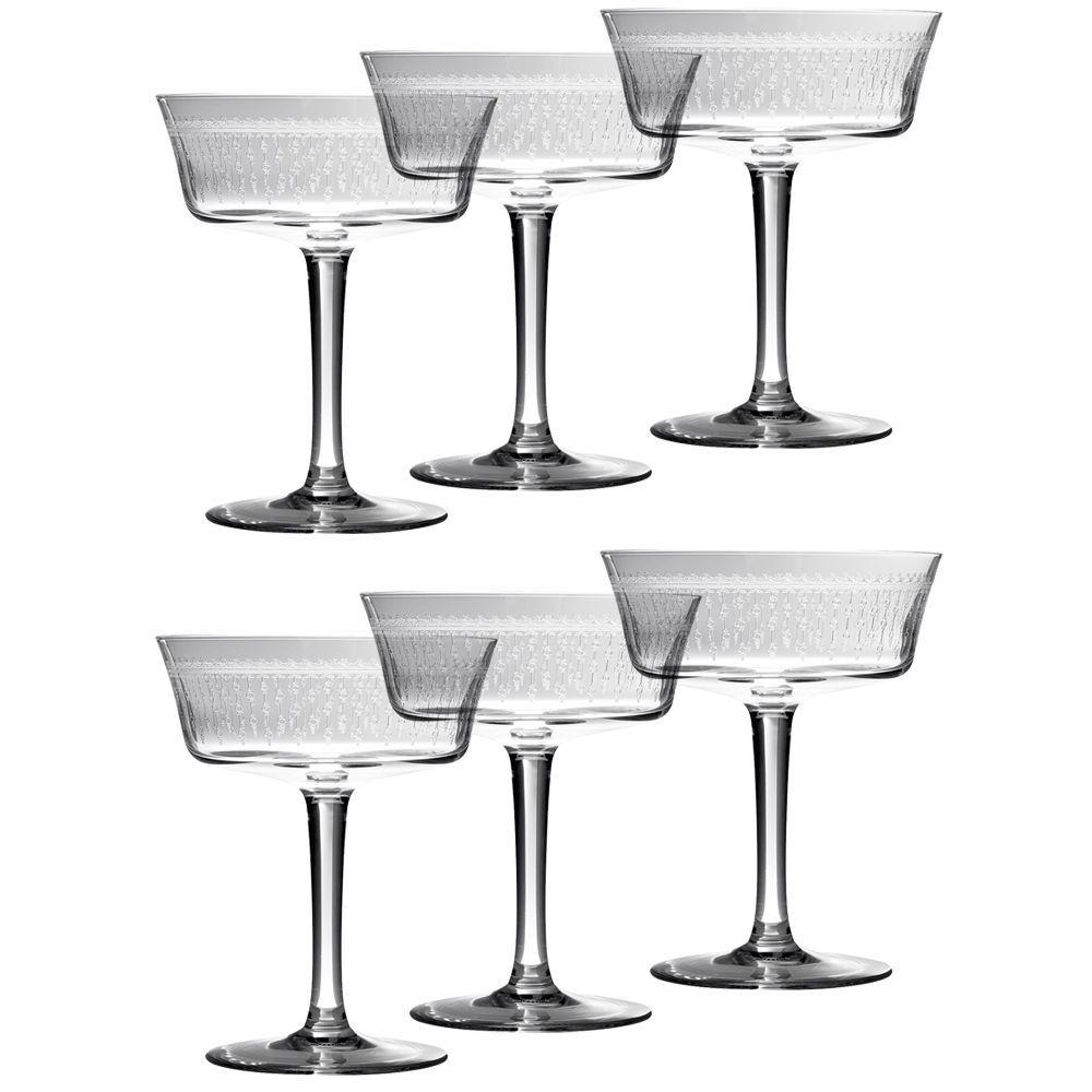 Urban Bar 1920 Prohibition Etched Crystal Retro Fizzio Glasses - 8.79 oz - Set of 6