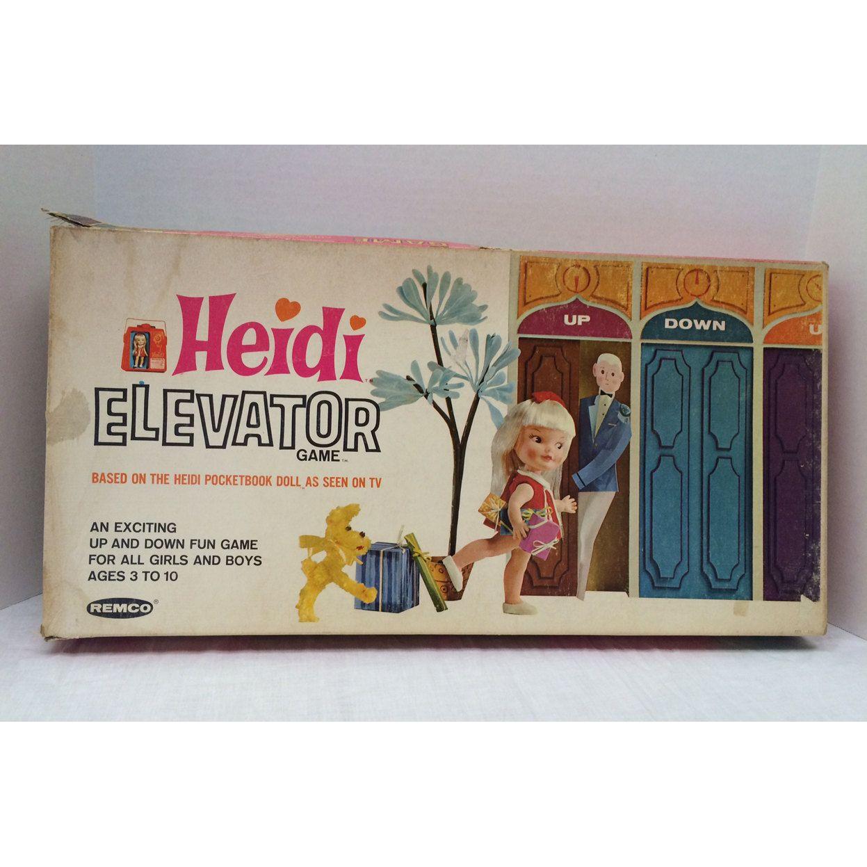1965 Heidi Elevator Game Remco Industries Board Game Heidi Pocketbook Doll HTF - pinned by pin4etsy.com