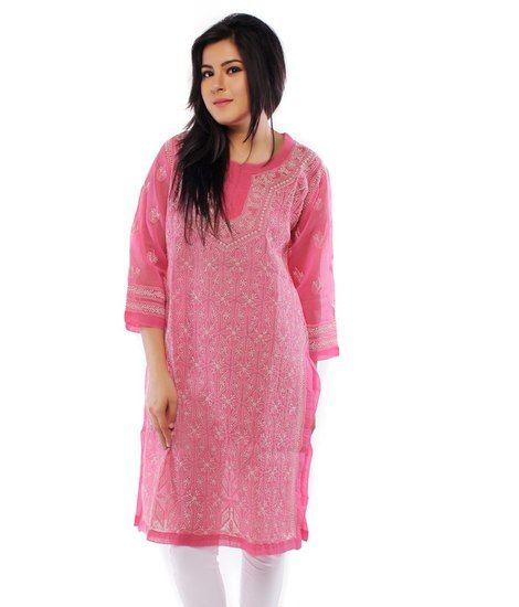 77a9cce20c Ada Lakhnavi Chikankari Hand Embroidery Pink Cotton Kurti by Ada - Ada  Kurtas & kurtis for women | buy women kurtas and kurtis online in indium
