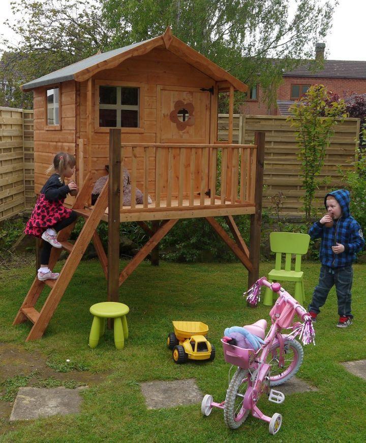 small prefab treehouse on stilts   Play houses, Tree house ...