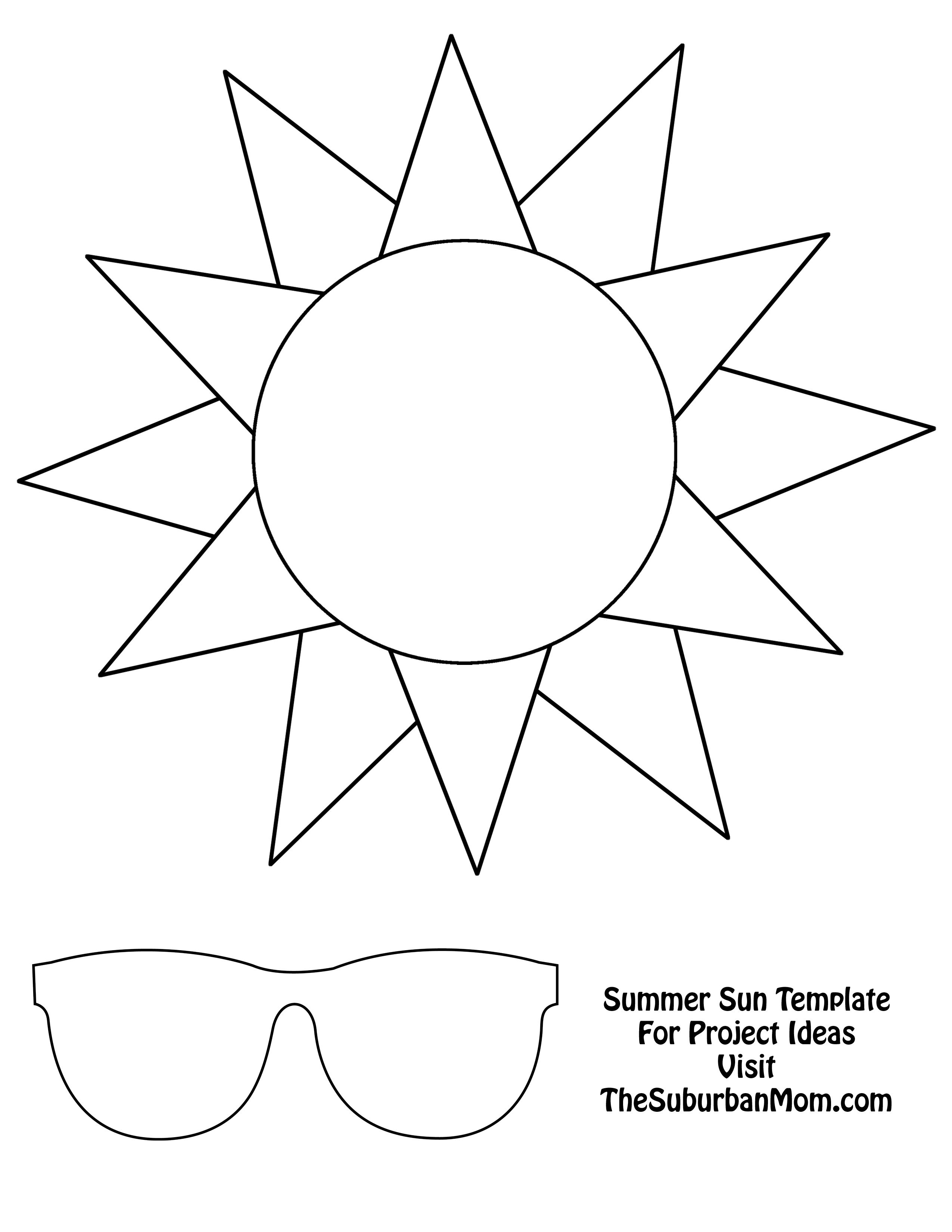 Summer Sun Template Sun Template Summer Crafts Sun Crafts