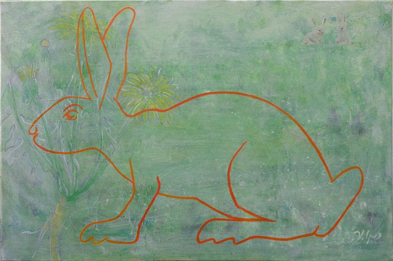 """Follow me -  an acrylic painting by m. kuipers, showing the silhouete of a rabbit, a homage to """"Alice in wonderland"""""""
