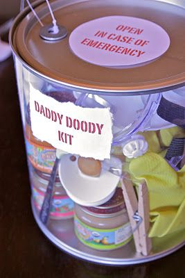 Hilarious---  Daddy Doody Kit for Baby Shower:   diapers  diaper rash cream  gloves  goggles, face mask, clothes pin for your nose  tongs for diaper disposal  hand sanitizer (travel size)  baby wash (travel size)  wash cloth  baby food  spoon  pacifier  bottle  baby sockies  wipes (travel size)  tylenol...for daddy