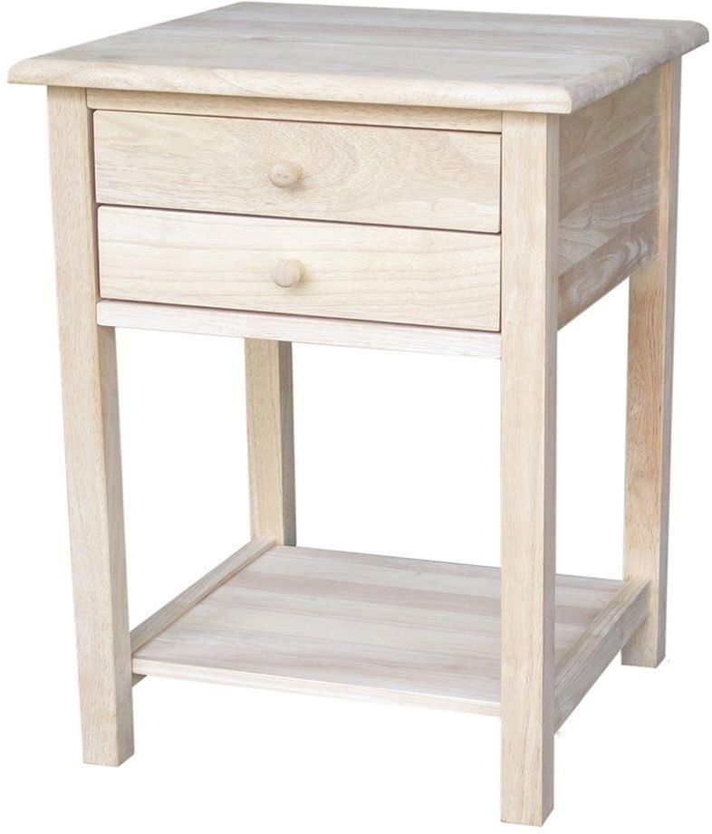 Lamp Side Table Living Room Bedroom Square Unfinished Wood