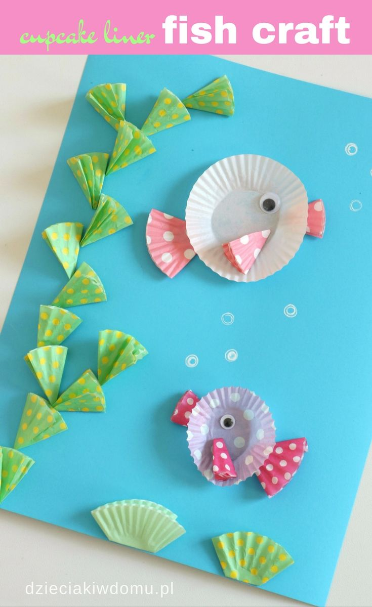 Cupcake liner fish craft for kids wiosna pinterest for Fish for toddlers